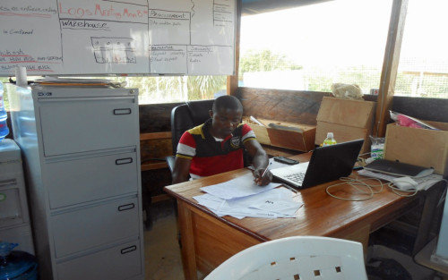 Wonkamah G. Gono, a graduating senior of the business college of Cuttington University, serves as the procurement officer at the Bong County Ebola Treatment Center.